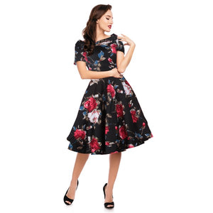Darlene 1950's Style Swing Dress in Black Red Blue