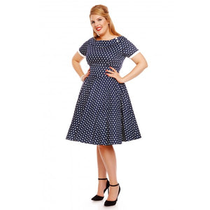 Darlene 50's Polka Swing Dress in Dark Blue