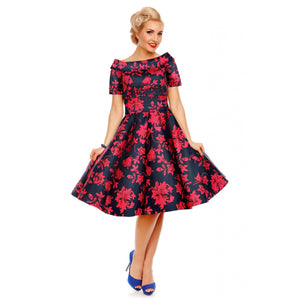 Darlene Dress in Dark Blue Red Floral