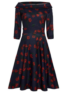 Deborah Flattering Swing Dress in Dark Navy with Red Tulip