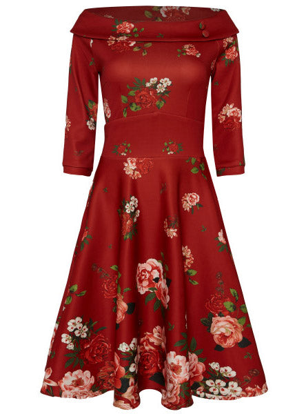 Deborah Flattering Long-Sleeved Swing Dress Red & Raising Roses