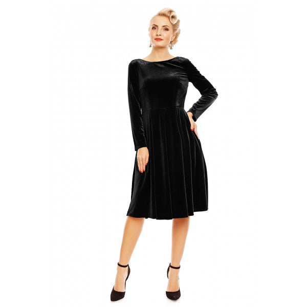 Holly Velvet Swing Dress With Long Sleeves in Black