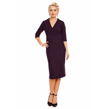 Load image into Gallery viewer, Fiona Fitted Wrap Collar Vintage Dress in Purple