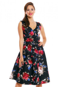 May Dress in Black Red Blue Floral