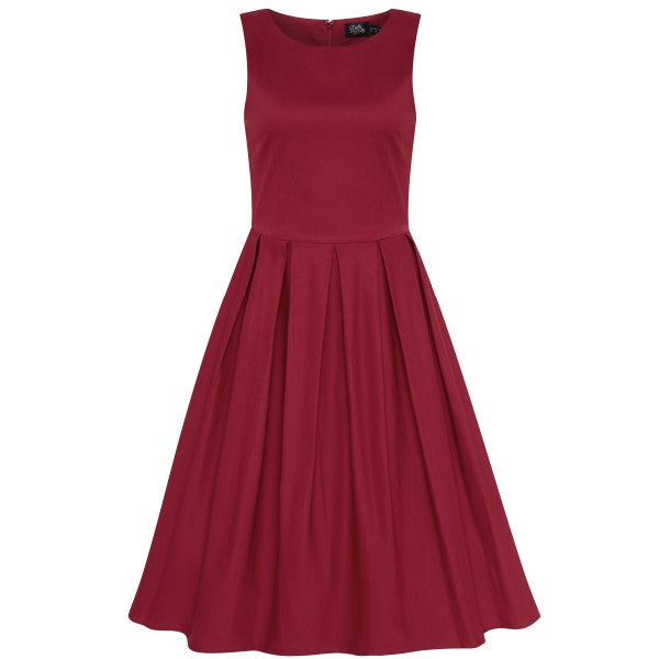 Lola Retro Swing Dress with Pockets in Burgundy
