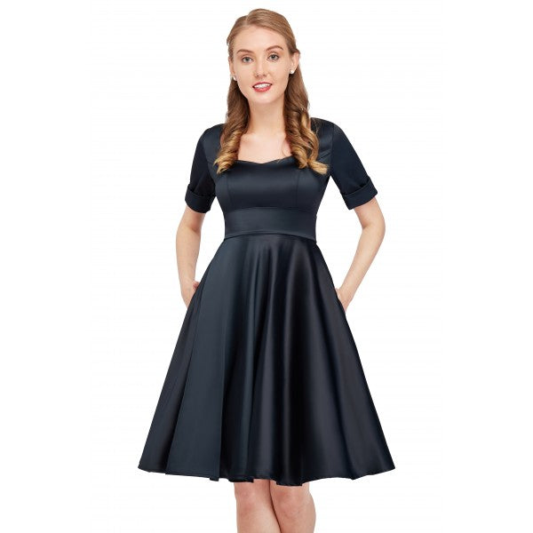 Barbara 1950s Vintage Inspired Sweetheart Neckline Short Sleeved Satin Dress in Black