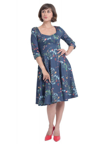 Debra Long-Sleeved Stretchy Dress Navy, Birds & Flowers