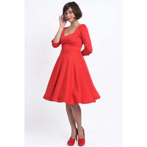 Debra Sweetheart Neckline Long-Sleeved Stretchy Swing Dress Red