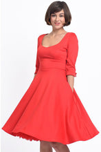 Load image into Gallery viewer, Debra Sweetheart Neckline Long-Sleeved Stretchy Swing Dress Red