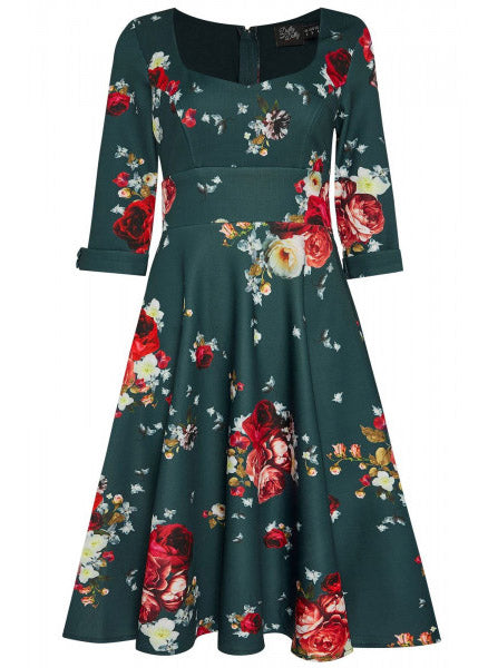 Debra Flattering Long-Sleeved Stretchy Dress Teal Blue & Roses