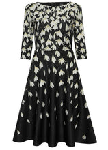 Load image into Gallery viewer, Janet Classic Long-Sleeved, Flared Dress Black Snowdrops