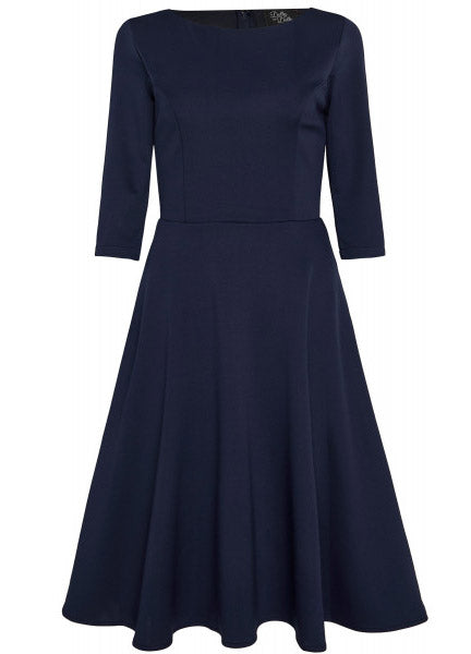Janet Vintage Inspired Long-Sleeved Dress in Navy