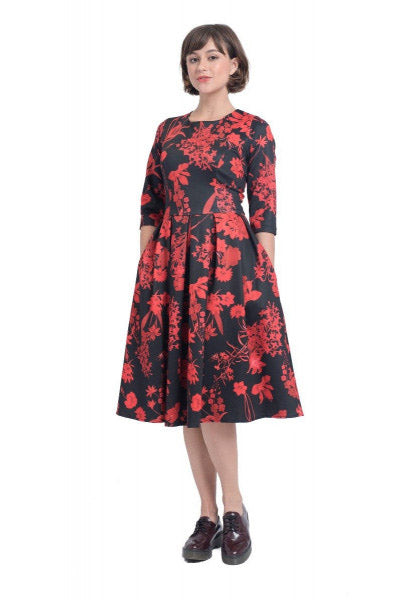 Janet Vintage Inspired Long-Sleeved Dress Red Flowers in Black