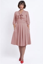 Load image into Gallery viewer, Sandra Vintage Inspired Stretchy Pale Pink Bow Tie Dress