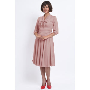 Sandra Vintage Inspired Stretchy Pale Pink Bow Tie Dress