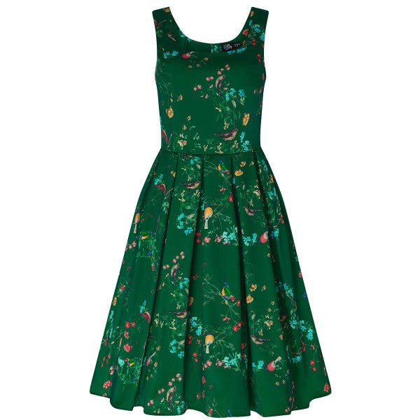 Amanda Vintage Inspired Birds Print Dress in Green with Hidden Pockets & a Scoop Neckline