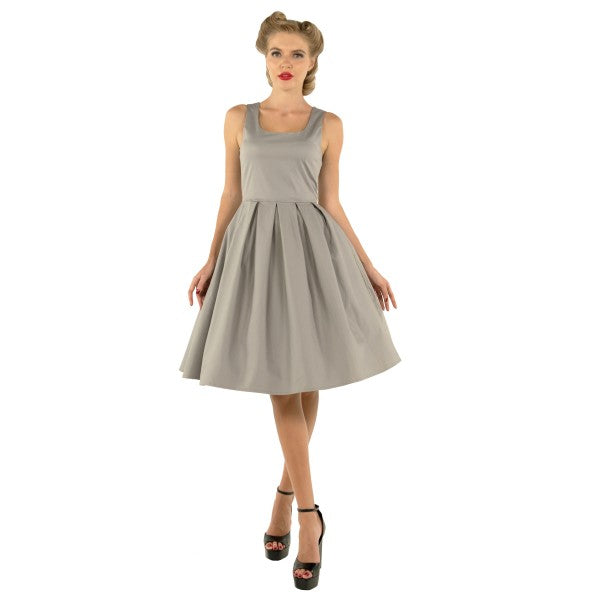 Amanda Scoop Neck Swing Dress in Grey