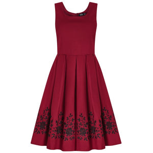 Amanda Embroidered Scoop Neck Swing Dress in Burgundy/Black