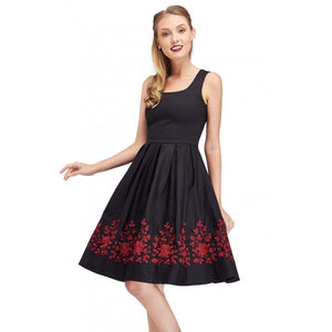 Amanda Embroidered Scoop Neck Swing Dress in Black/Red