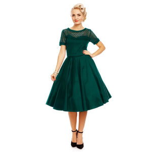 Tessa Lace Embroidered Sleeved Dress in Dark Green