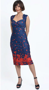 Emma Queen Anne Neckline Wiggle Dress Navy & Poppy Flowers