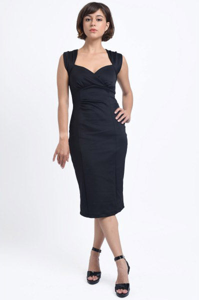 Emma Queen Anne Neckline Wiggle Dress in Black