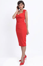 Load image into Gallery viewer, Emma Queen Anne Neckline Wiggle Dress in Red