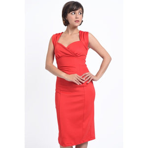 Emma Queen Anne Neckline Wiggle Dress in Red