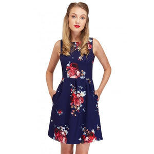 Joan Vintage Dark Blue and Modern Roses Summer Dress