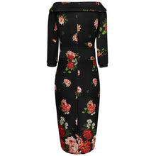 Load image into Gallery viewer, Denise Vintage Inspired Wiggle Dress - Roses in Black