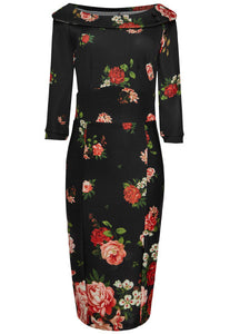 Denise Vintage Inspired Wiggle Dress - Roses in Black