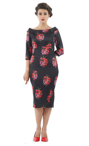 Denise Vintage Inspired Wiggle Dress - Red Tulip in Black