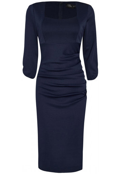 Judy Ruffled Waist Tight Wiggle Dress - Navy