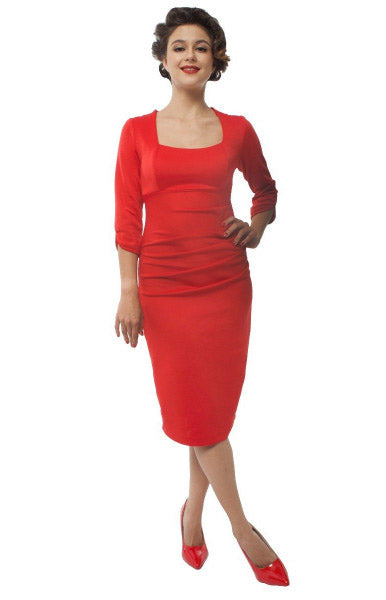 Judy Ruffled Waist Tight Wiggle Dress - Red