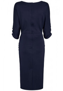 Diane Ruffled Waist & Long Sleeved Tight Wiggle Dress Navy