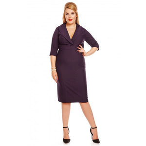 Fiona Fitted Wrap Collar Vintage Dress in Purple