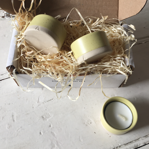 Arran Street East | Set of Tea Light Holders - Lemon