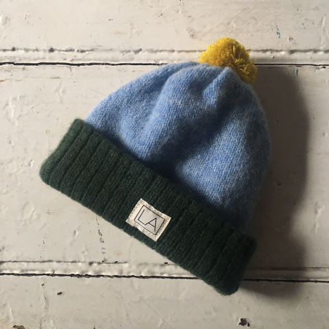 Liadain Aiken | Lambswool Baby Hat - Green/Blue/Yellow