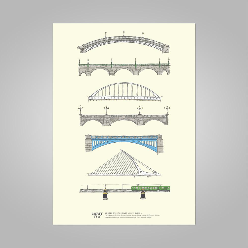 Clover Rua | Dublin Bridges Print (2 Sizes available) - Pastel