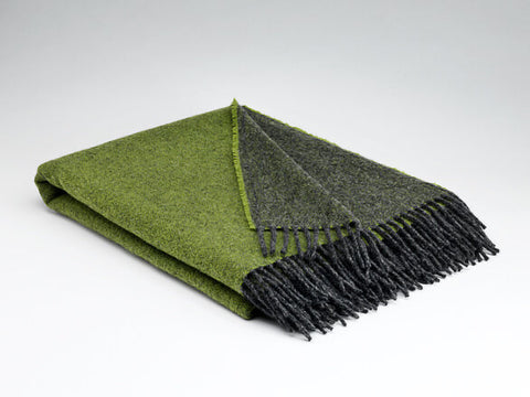 McNutt Luxury Collection Pure Wool Blanket - Meadow Green Reversible