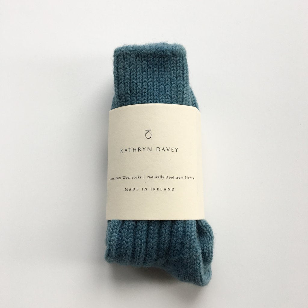 Kathryn Davey Wool Socks Soft Blue
