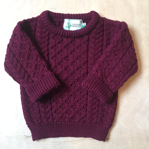 Aran Crew Neck Jumper KIDS - Burgundy