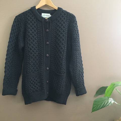 Original Aran Company | Cardigan - Navy with Olive Fleck