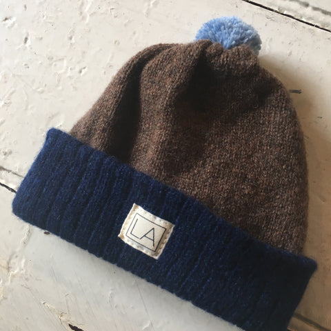 Liadain Aiken | Lambswool Baby Hat - Navy/Brown/Blue