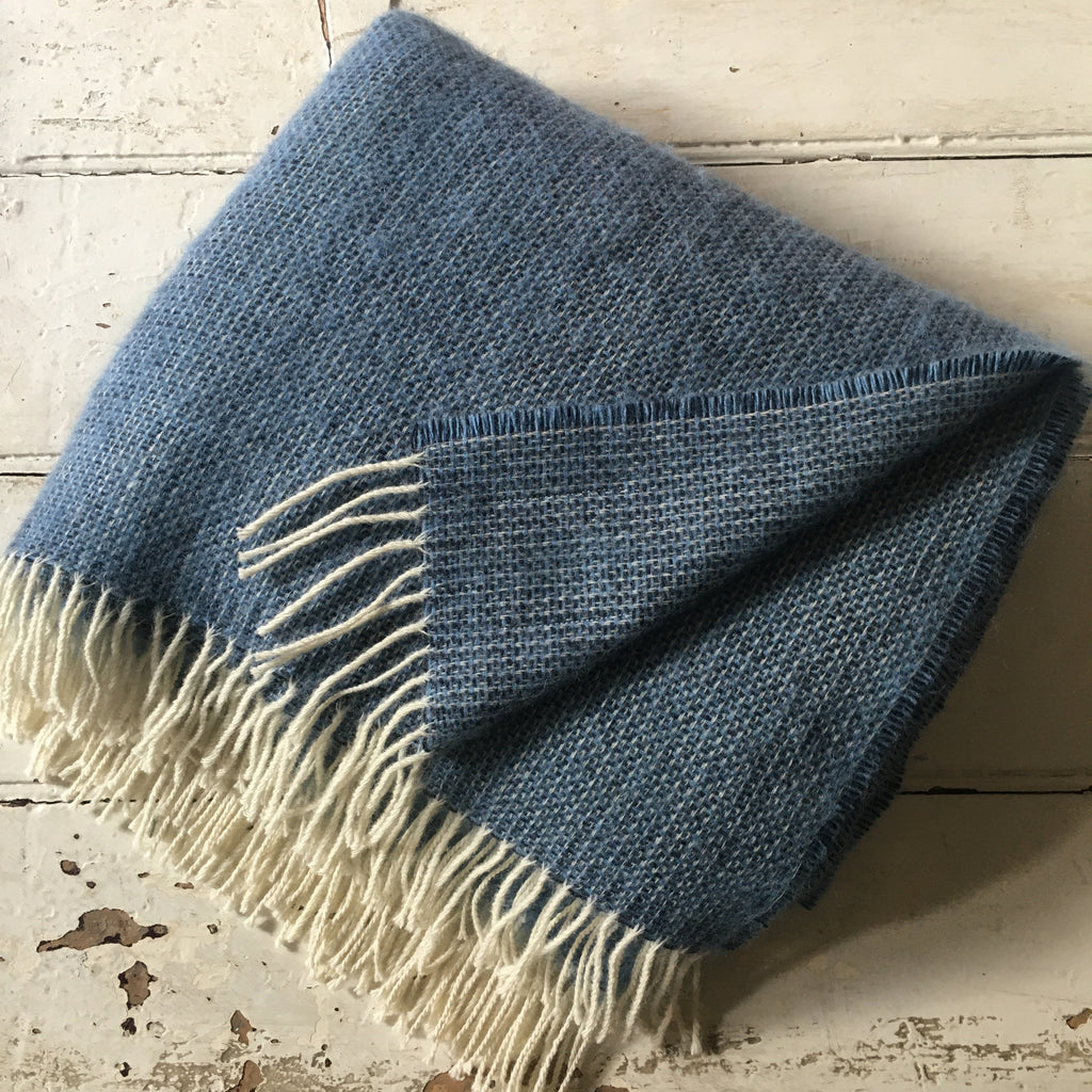 McNutts | Luxury Collection Pure Wool Blanket - Blue Box Weave