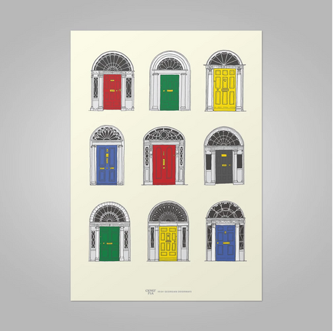 Clover Rua | Dublin Georgian Doors Print - Primary Colours (2 Sizes Available, A3 & A4)