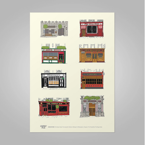 Clover Rua | Dublin Pubs Print (2 Sizes Available, A4, A3)