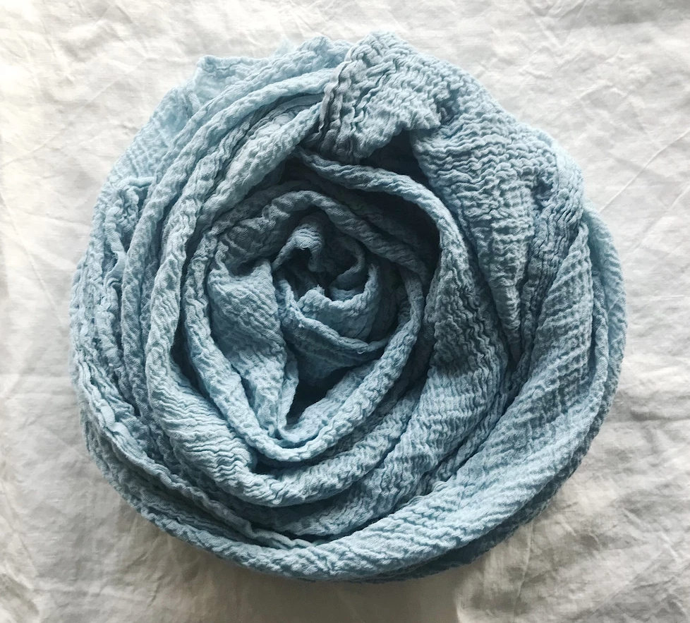 Kathryn Davey | Organic Cotton Scarf - Light Blue/Ash
