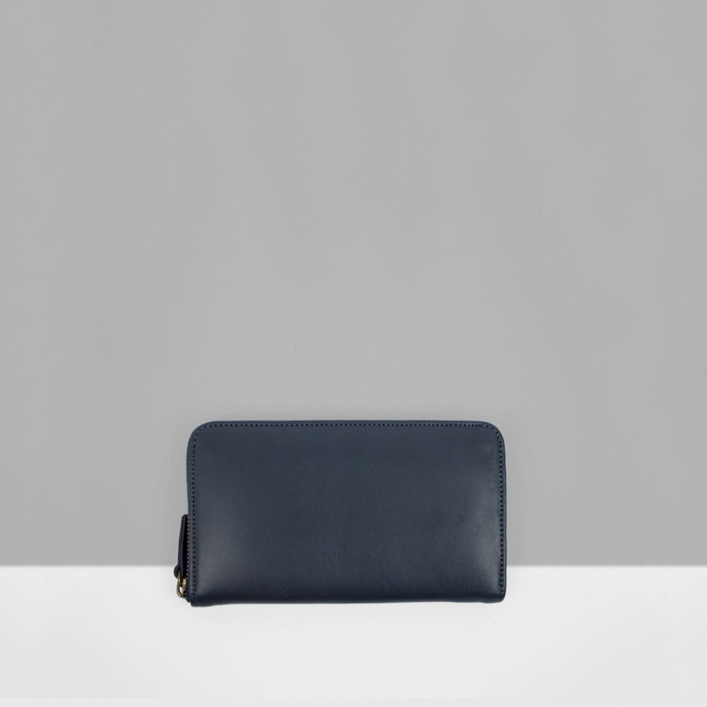 Le Bas | Leather Zip Wallet - Navy