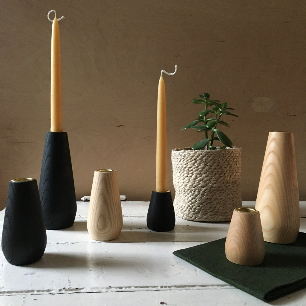 Coolree | Wooden Candle Holders - Black/Natural (3 Size Options))